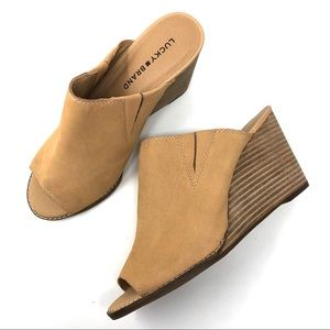 Lucky Brand Nude Pebbled Leather Slide Wedges